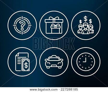 Set Of Headhunter, Delivery Boxes And Payment Icons. Salary Employees, Taxi And Clock Signs. Aim Wit