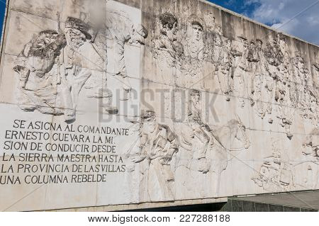 Santa Clara,cuba-january 6, 2017: Frieze With Relief Of Che Guevara In The Memorial And Museum In Sa