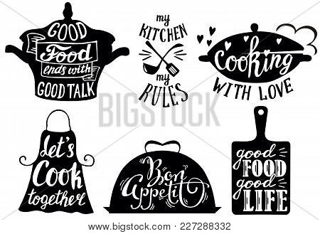 Cooking Set With Kitchen Utensils And Cuisine Short Phrases And Quotes. Vector Vintage Hand Drawn Il