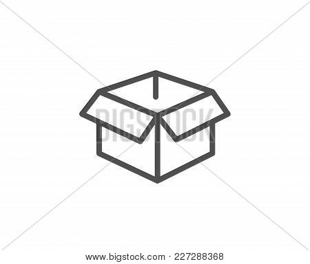 Opened Box Line Icon. Logistics Delivery Sign. Parcels Tracking Symbol. Quality Design Element. Edit