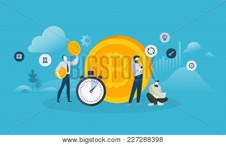 Bitcoin Exchange. Flat Design Style Web Banner Of Blockchain Technology, Bitcoin, Altcoins, Cryptocu