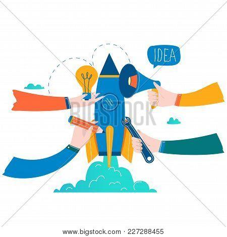 Business Project Startup Process, Startup Idea Launching, Project Management, Startup Launch Flat Bu