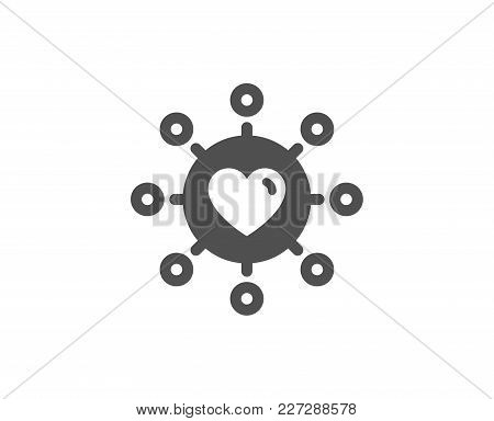 Love Dating Simple Icon. Relationships Network Sign. Valentines Day Or Heart Symbol. Quality Design