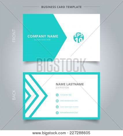 Creative Business Card And Name Card Template Green And White Triangle Pattern. Abstract Concept And