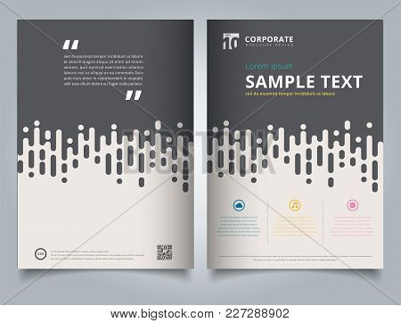 Brochure Template Gray Rounded Lines Halftone Transition With Icon And Simple Text. Business Book Co
