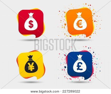 Money Bag Icons. Dollar, Euro, Pound And Yen Symbols. Usd, Eur, Gbp And Jpy Currency Signs. Speech B