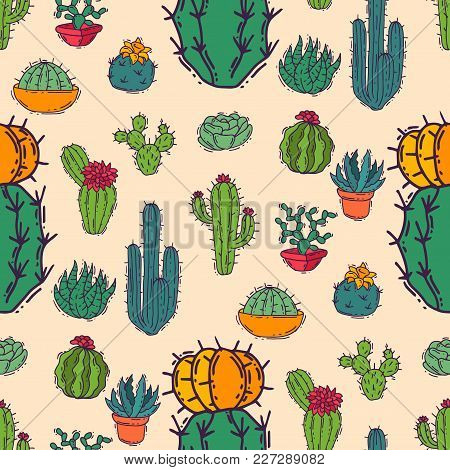 Cactus Home Nature Vector Illustration Of Green Plant Cactaceous Tree With Flower Seamless Pattern B