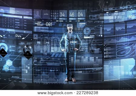 Wonderful Technologies. Calm Qualified Smart Programmer Feeling Satisfied With His Virtual Reality G