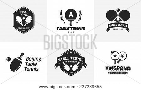 Set Of Vintage Table Tennis Logos And Badges. Collection Of The Ping Pong Championship Labels