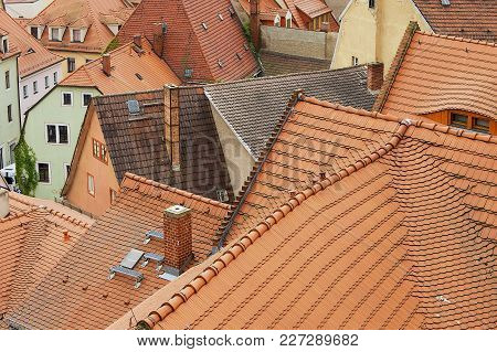 Meissen, Germany - May 22, 2010: View To The Red Tile Roofs Of The Old Buildings In Meissen, Germany