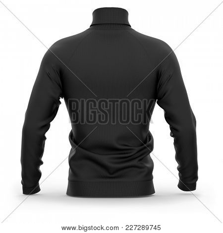 Men's sweater with long raglan sleeves. Back view. 3d rendering. Clipping paths included: whole object, collar, sleeves. Isolated on white background. Black (highlights template)