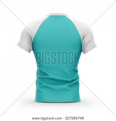 Men's blue t shirt with white short raglan sleeve. 3d rendering. Clipping paths included: whole object, collar, sleeves. Isolated on white background.