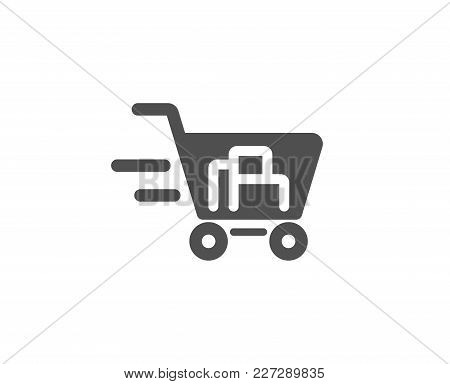 Delivery Service Simple Icon. Shopping Cart Sign. Express Online Buying. Supermarket Basket Symbol.