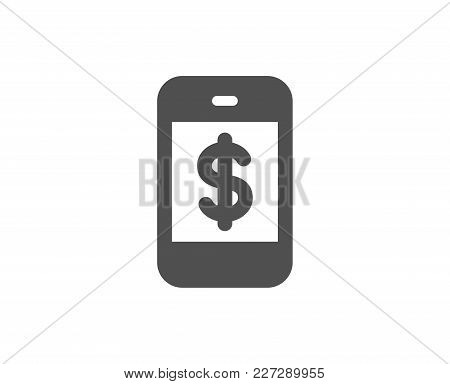 Mobile Shopping Simple Icon. Smartphone Online Buying Sign. Dollar Symbol. Quality Design Elements.