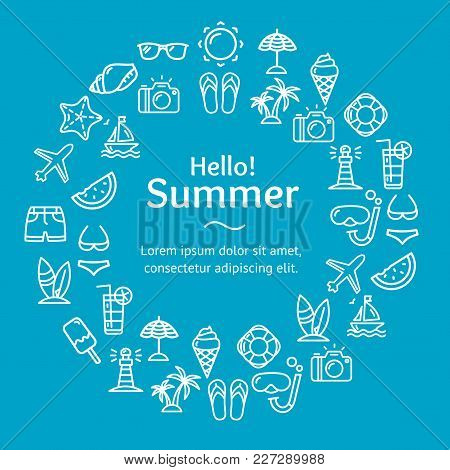 Summer Time Round Design Template White Line Icon Concept On A Blue Include Of Travel Elements. Vect