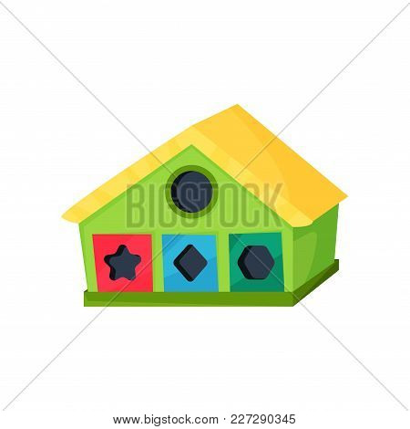 Development Toy In Shape Of House With Holes For Geometric Figures. Game For Little Children. Learni