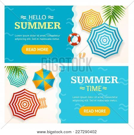Hello Summer Time Banner Horizontal Set Concept Season Tourism And Travel With A Beach Parasol. Vect