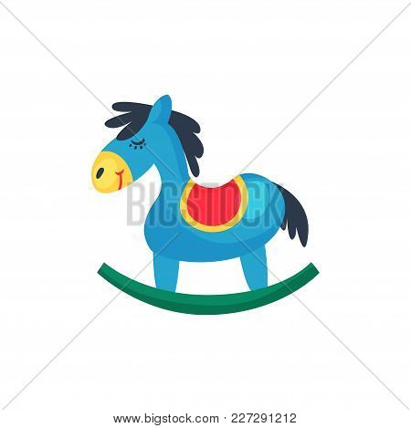 Icon Of Blue Plastic Rocking Horse. Little Pony With Red Saddle. Design Element For Postcard, Kids W