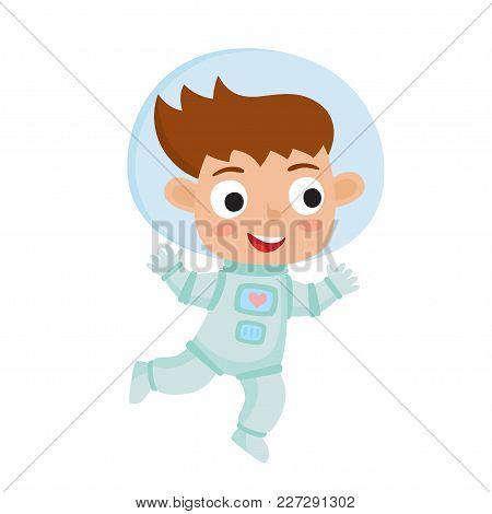 Standing Astronaut Kid Isolated On White Background. Cartoon Pretty Girl Wearing Astronaut Costume.