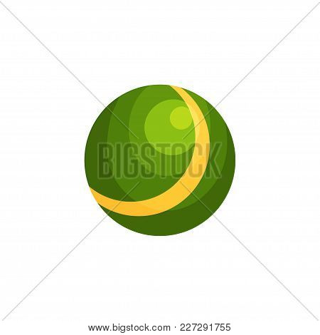 Bright Green Ball With Yellow Stripe. Inflatable Rubber Toy For Children S Outdoor Games. Colorful B