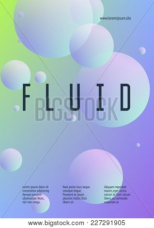 Holographic Fluid With Radial Circles. Geometric Shapes On Gradient Background. Modern Hipster Templ