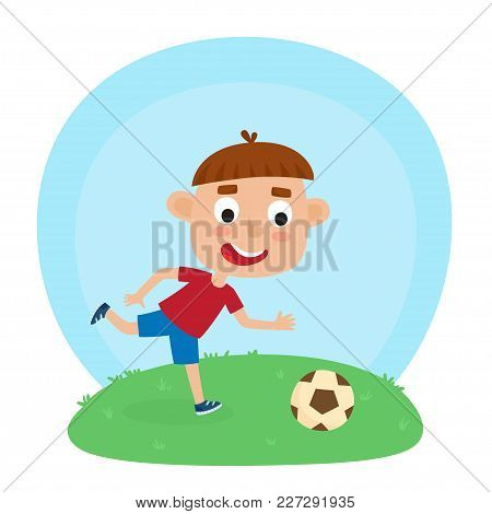 Vector Illustration Of Little Boy In Shirt And Short Playing Football. Cute Cartoon Kid Kicking Socc