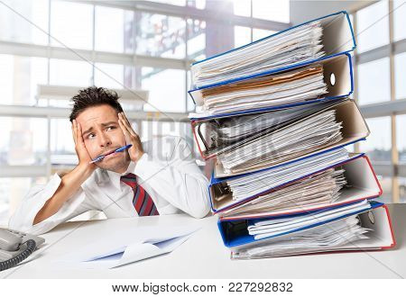 Business Young Man Stack Businessman Papers Young Adult