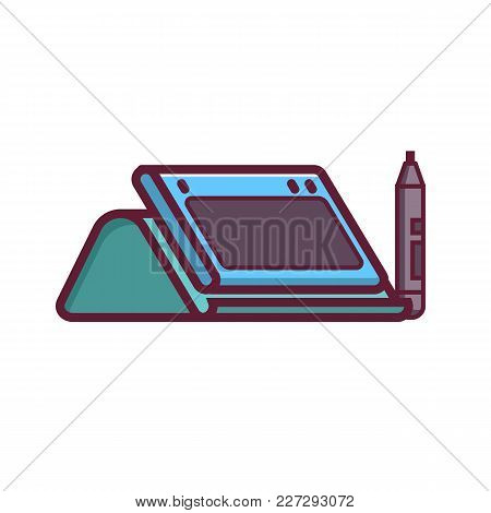 Graphic Drawing Tablet With Stand And Stylus Icon In Flat Design. Line-art Digital Designer Device I