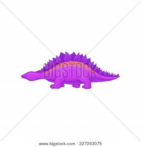 Cartoon Purple Stegosaurus. Dinosaur Of Jurassic Period. Giant Reptile With Short Limbs, Long Tail A
