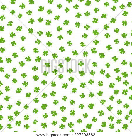 Clover Leaf Irish Background. Green Colored Pattern. Saint Patrick S Day Hand Drawn Vector Illustrat