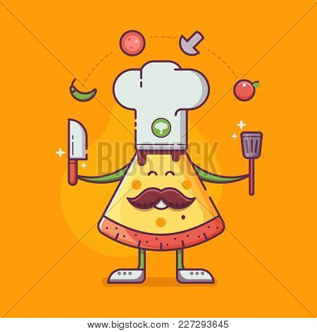 Smiling Chief-cooker Pizza Man In Chef Hat With Mustache Juggling Ingredients. Italian Pizza Cooking