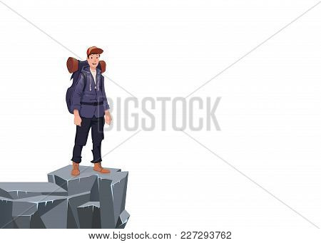 A Young Happy Man On The Edge Of The Cliff. Mountain Hiker, Explorer, Mountaineer. A Symbol Of Succe
