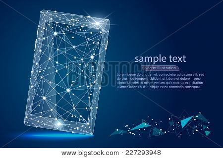 Abstract Design Of Mobile Phone Smartphone. Isolated From Low Poly Wireframe On Space Background. Ve