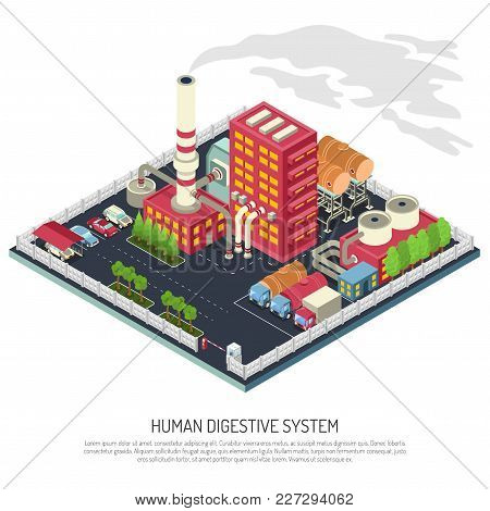Factory Isometric Composition With Building, Pipe, Industrial Equipment, Fence With Access Control,
