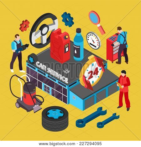 Car Service Isometric Concept With Spare Parts Symbols Vector Illustration