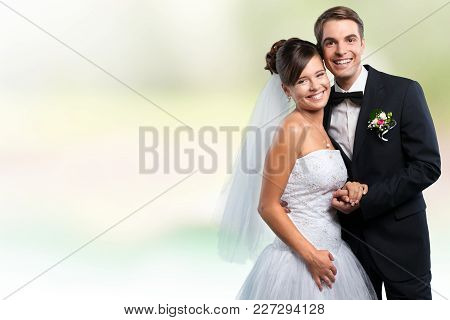 Young Couple Married Just Young Adult Couple Love Background