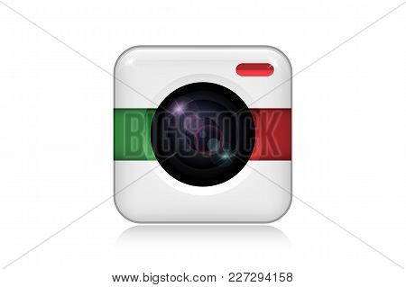 Camera Icon For Mobile Application. Isolated Element On The White Background. Vector Illustration.