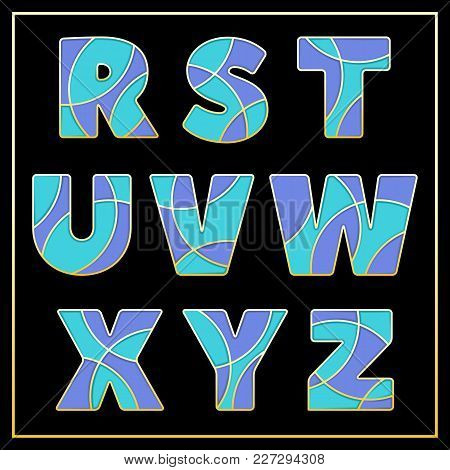 Colorful Stylized Abc Mosaic Font With Capital Letters From R To Z. Part 3 Of 5. Enamel Jewelry Art