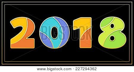 New Year Banner With Big 2018 Signs. Enamel Mosaic Art Isolated Vector Symbols In Different Bright C