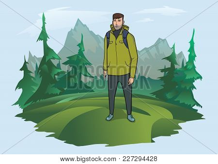 Happy Young Man With Backpack On The Background Of The Mountain Landscape. Mountain Tourism, Hiking,