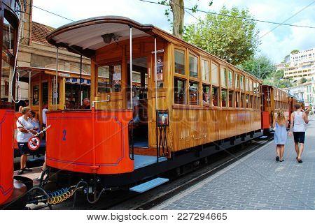 MAJORCA, SPAIN - SEPTEMBER 6, 2017: The vintage tram line at Port de Soller on the Spanish island of Majorca. The 4.8km line between Soller and Port de Soller was opened in 1913.