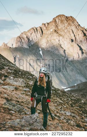 Woman Climbing In Mountains Traveling Lifestyle Survival Concept Adventure Outdoor Active Vacations