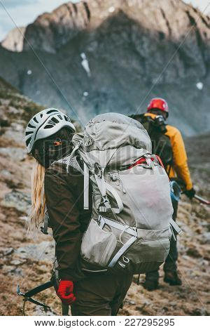 Backpackers Hiking In Mountains Travel Healthy Lifestyle Adventure Concept Active Summer Vacations O
