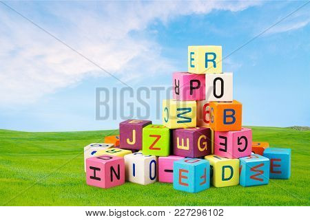 Color Colorful Cube Letters Games Table Green