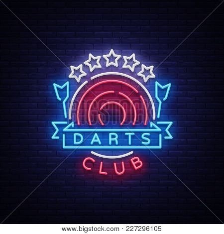 Darts Club Logo In Neon Style. Neon Sign, Bright Night Advertising, Light Banner. Vecton Illustratio