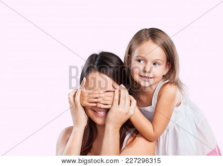 Girl Eyes Covering Mother Young Adult Casual Clothing Domestic Life