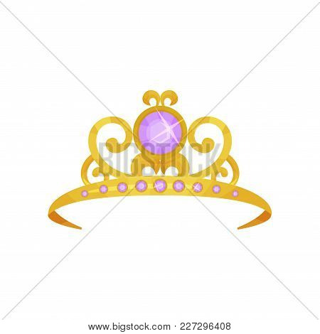 Beautiful Princess Crown Decorated With Round Purple Gemstones. Golden Tiara. Precious Queen Accesso