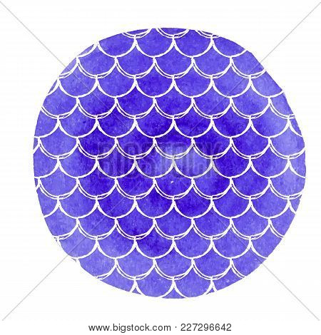 Fish Scale On Watercolor Background. Bright Colors. Mermaid Tail Banner And Invitation. Hand Drawn R