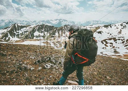 Man Traveler With Big Backpack Hiking In Mountains Expedition Travel Survival Lifestyle Concept Adve