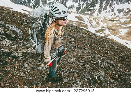 Young Woman With Backpack Climbing In Mountains Travel Healthy Lifestyle Adventure Concept Active Su